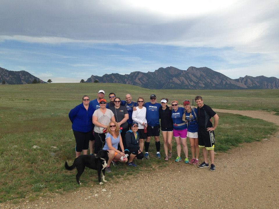 Team Challenge Denver in front of the Flatirons